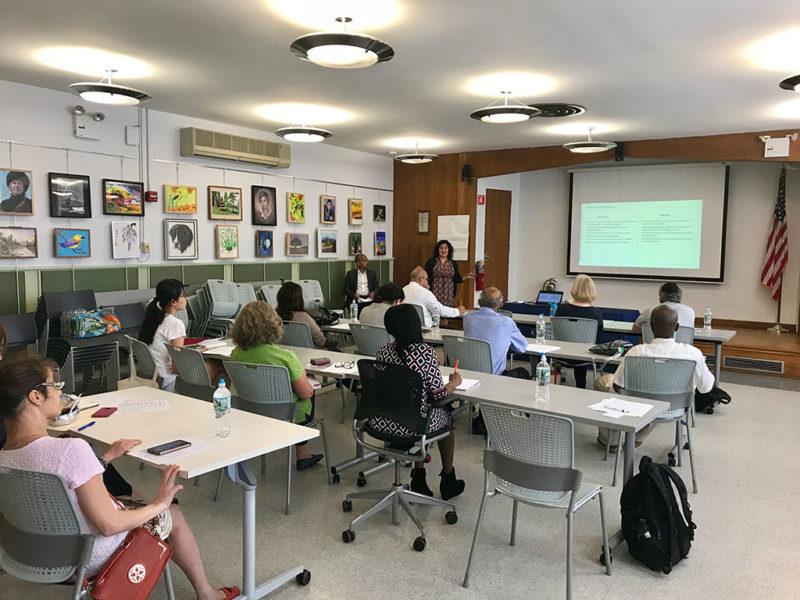 facilitators giving workshop in classroom